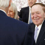 Sheldon Adelson With His Wife Miriam Talks With Then Secretary Of State Rex Tillerson Before A 2017 Speech By President Trump At The Israel Museum In Jerusalem.