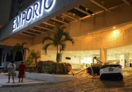 A Car Is Damaged By Lightning Strikes As People Stand Outside A Hotel After The Earthquake In Acapulco Guerrero State Mexico.