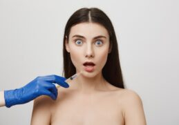 Shocked Woman Open Mouth Stare Worried While Take Bottox Injection Lip