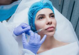 Woman Getting Cosmetic Injection Botox Lip Closeup Woman Beauty Salon Plastic Surgery Clinic