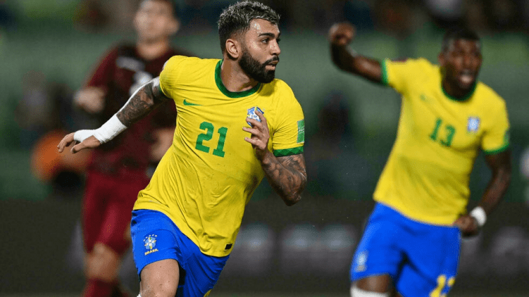 Brazilian Gabriel Barbosa Left Celebrates After Scoring Against Venezuela During The South American Qualifying Soccer Match For The Qatar 2022 Fifa World Cup At The Ucv Olympic Stadium In Caracas On