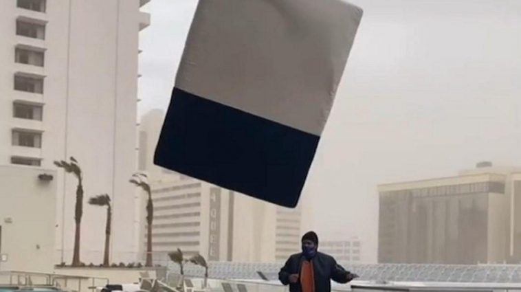 Young Man Records The Exact Moment In Which A Flying Mattress Hits Him